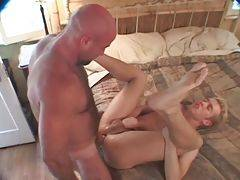 Hairy daddy thoroughly works his thick cock inside blond guy`s rectum.