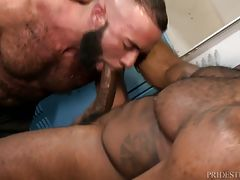 Noah is in the locker room when Fernando comes in and starts staring at him. They exchange a few words before Fernando asks Noah if the rumor is true about him having a huge cock. Noah tells him he should find out by sucking it. Fernando does just that an