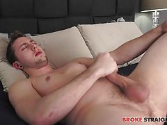 The more he plays with that hard dick the more he moans, turning onto his back and sticking a finger up his ass while he continues to pull on that throbbing prick.  His toes curl as he makes himself feel so good, eyes closed tight as he enjoys the feeling