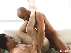 Ollie feels the deep pleasure and begs Sean to fuck him harder..and Sean is happy to oblige. Eventually he puts Ollie on his back where he pins and makes him feel the full force of his muscular strength and cock. Ollie`s vocal pleasure is heightened even