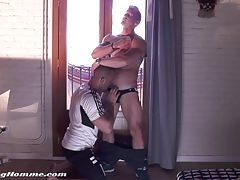 Damien Crosse gets to feast on the gorgeous piece of ultra-ripped and perfectly sculpted Darius Ferdynand, who drowns Damien in with his piss and cum.