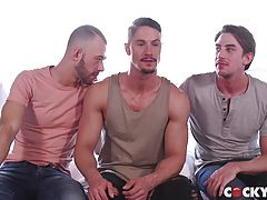 Jack enters Skyy while Brandon slides his massive cock deep inside Jack until all three are moaning with pleasure. With Skyy ready for his double penetration, he straddles Jack while Brandon takes him from behind. Filled with two rock hard cocks, Skyy can