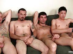 Five dudes start to rub their dicks passionately to gain their cumshot first.