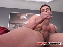 He wraps his hand around his long shaft and reclines back on the bed, using his precum as lube to make each stroke feel even better. He stands in a few positions, giving is a nice view of his untouched asshole before getting comfortable on the bed and rea