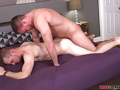 Brenden Steel is still pretty new to BSB, so John Henry isn�t shy about taking the lead as these two cute guys start making out. John runs his tongue across Brenden�s chest and muscular arms, sucking on his nipples and then moving in for another kiss as h