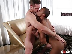 An excited Jacen quickly undresses Alex and sucks him with even more passionate energy. He relents only once to kiss Alex and stroke his cock as the hairy chested stud holds Jacen close and run his hands over his bubble butt. Jacen returns sucking Alex`s