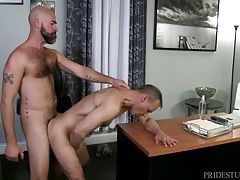 Rodney tries that cock out in his mouth but he`s the boss se he flips his legs up in the chair and tells Damon to lick his ass to get it all lubed up for his big cock.