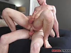 Brandon grabs Ben�s sweet cock with his lips and deepthroats that fat prick, letting Ben shove it deeper down his throat as he face fucks him and then pulls Brandon up to get a taste of his ass.  Ben rims Brandon�s hole, giving that ass a couple good smac