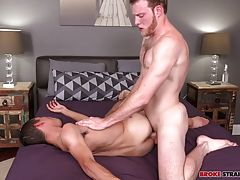Jared Marzdon goes right in for a kiss with Ben Dover, meeting his lips as they make out for a while before Jared works his way down to Ben�s dick, unleashing that massive cock and taking it in his mouth.  Ben watches as Jared works that dick, deepthroati