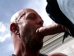 Three fingers deep he continues to bang Matt`s ass until his hole is wide enough for his hard dick.