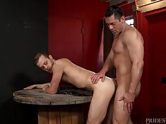 As a sign of respect for his older lover. After Alexander is done using Chandler`s mouth and throat, he bends him over and rims his ass and gets it nice and moist for his cock. He then fucks Chandler bent over the wooden spool for a while before pulling o