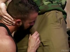 He takes control and starts intensely kissing Fernando and then forces him down to his growing cock through his pants. He teases Fernando for a while before allowing him to suck his big thick cock. After sucking, Julian bends Fernando over and rims his ha