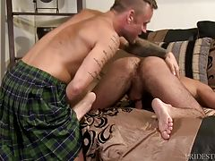 Hoytt ordered a Kilt and the package has finally arrived at home. He opens it up and is excited to put it on right away. After he gets it on, he begins to pleasure himself and we can see the outline of his big cock through the fabric of the Kilt. Fernando