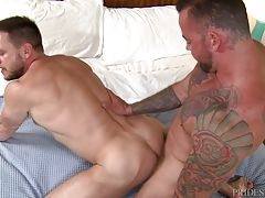 Hans then sucks Sean`s big cock and then Sean sucks Hans. He then continues by having Hans ride his cock and then Sean fucks him on his back until he shoots his load. Sean pulls out and shoots his load all over Hans.