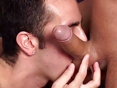 Erik gets his cock wet in young Tanner`s mouth before flipping him on his back to fill his tight pink boy hole.