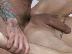 He pulls out and orders the dirty bottom to clean off and choke on his dick as Sage thrusts into Dylan and opens his ass up even more.