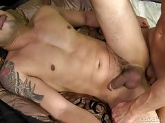 Matt is all over that dick sucking and stroking it but he doesn`t want Hunter to get to comfortable so he flips on his back and has Hunter service his big dick.