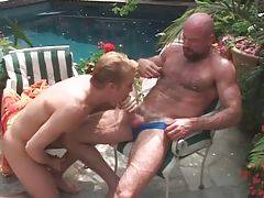 Slutty guy works his eager mouth at his mature lover`s dong.