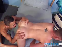 Mike facefucks Conner and then bends him over the bed to lick Conner�s ass, rimming his tight puckering hole and sliding his finger over it before standing up and slowly pushing his hard prick inside of Conner.  Mike�s deep thrusts make Conner�s sexy ass