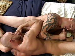 They share a 69 with each other before Jace moves to Jessie`s wanting ass and he rims him deep and wet. Jessie then sits on Jace`s face and begins to grind his face before he sits on Jace`s big thick cock and rides him like a champ. Jace then fucks Jessie