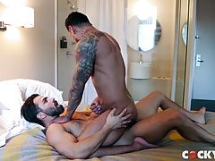 As Boomer lies back Adam gives him as much pleasure as one mouth can do. He slowly sucks every inch of his fat cock, he rims his ass, kisses him passionately and tantalizes his nipples before returning to fuck him. At the same Adam makes sure his mouth co