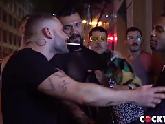 While he was awkwardly shy earlier at the club, Calvin is much more self-assured and confident with Allen. He merely signals Allen to join him at the front of the car with the headlights on and make out. As Allen goes down on Calvin to give his cock and h
