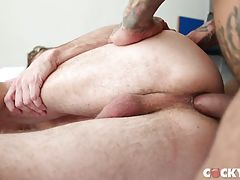 They affectionately dry each other off but Boomer takes Wesley to bed and gets on top to dry hump him and make him feel the power. He briefly rims Wesley, fucks him halfway and goes back and forth before finally thrusting every inch into him. As Boomer pi