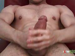 Hot stud skillfully works his hands to lead himself to cumshot.