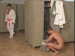Tough take off their kimonos in locker room and get horny.