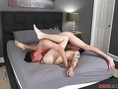 When Landon's entrance is dripping wet with Bobby's spit, he lines his cock up with that tight hole and slides inside of Landon, filling him up with his pulsing dick, bareback and eager as he fucks Landon hard and deep.  Bobby's fingers close around Lando