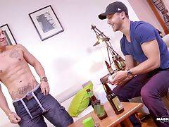 Watch as these two gorgeous ripped jocks strip in front of each other, testing and challenging each other to see who is prepared to go furthest.