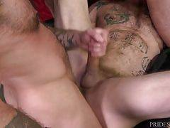 All three of the men are extremely rock hard and they all take turns fucking one another, sucking and rimming until one after another they begin to pop from all the sexual excitement.