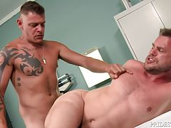 Once his ass is all wet, Jace spits on his cock and starts fucking Hans raw. Jace fucks him in several positions until both release their loads and stress.