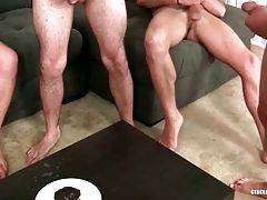 Tough fellows spray their loads of spunk on chocolate muffin one by one.