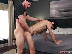 Xavier plays with himself as he takes that shaft, getting pounded and then riding Brandon's member before standing up and letting Brandon take over.  Xavier bends over the bed, his sore ass bouncing as Brandon thrusts his leaking cock into Xavier's snug h