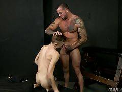 The initiation consists of Sean Christopher having to deep throat his big hard dick while getting fucked hard in several positions in the Club Playroom. At the end Sean Duran tells him to report back next week to see how good of a TOP he can be as the fin