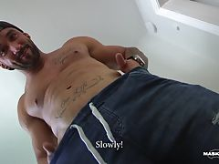 Young jock Zack was interested in buying a secondhand bench press he saw on local ads. Unfortunately, it was less impressive in person so the price didn`t feel right anymore. As often happens to sexy open-minded dudes, he was offered a bargain he simply c