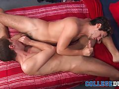 Dylan bends Maxx over for some more oral as he pushes his tongue between Maxx�s sweet ass and rims his hole, getting it nice and wet and making Maxx beg for his cock before spreading his ass apart and filling him up with his hard dick. As Dylan stretches