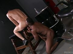 He then starts fucking Jack with his thick, throbbing and big dick bent over the wooden horse. Jack then climbs on top of Phoenix and takes all of the hard cock deep in his ass making sure every inch of is stuffed inside his tight hole.