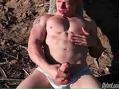 Adam gets horny at the beach and decides to please himself.