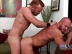 Bearded bull likes to have his butt poked by his tough boyfriend.