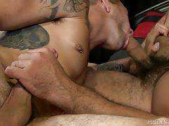 Big booty Trey wastes no time sucking that sexy cock of Dimitri`s as he gulps and gags on his long shaft.